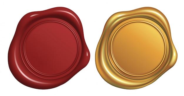 Selo de selo de cera vermelho e dourado