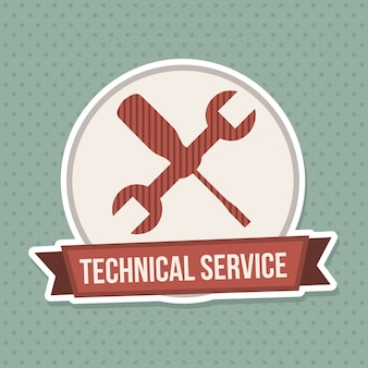 Selo de serviço técnico sobre fundo azul pontilhado