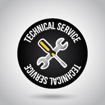 Selo de serviço técnico sobre fundo cinza