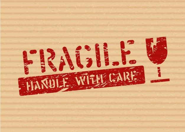 Selo de sinal frágil do grunge em caixa de papelão para logística ou carga. significa que não esmague, manuseie com cuidado. ilustração vetorial