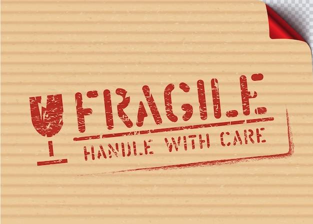 Selo de sinalização frágil do grunge na caixa de papelão para logística ou carga