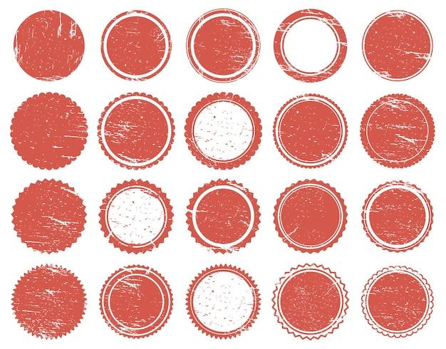 Selo de textura do grunge. carimbos de borracha com círculo vermelho, marcas vintage vermelhas de textura desgastada