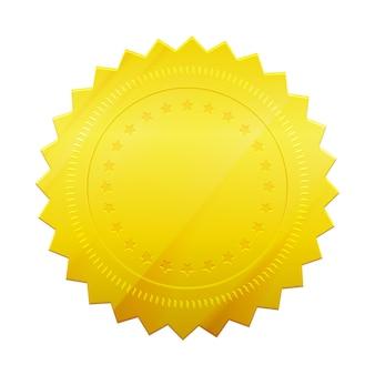 Selo de token dourado em branco isolado