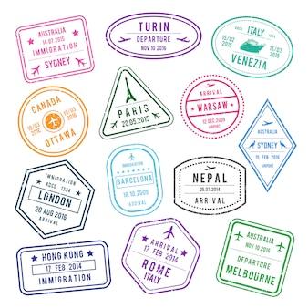 Selo de vetor no passaporte para viajar ou imigração.