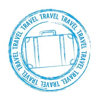 Selo de viagem azul isolado sobre o vetor de fundo branco