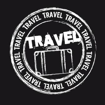 Selo de viagem branco isolado sobre o vetor de fundo preto