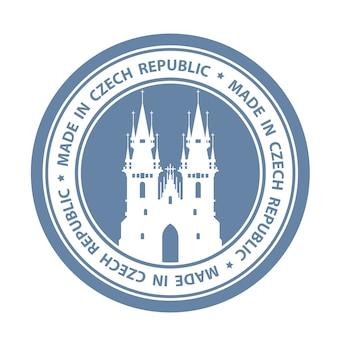 Selo de viagem tcheca com o símbolo de praga - igreja de nossa senhora antes de tyn