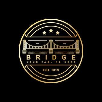 Selo estilo pontes com desenhos de estilo de arte de linha