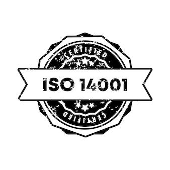 Selo iso 14001. vetor. ícone do emblema do iso 14001. logotipo do crachá certificado. modelo de carimbo. etiqueta, etiqueta, ícones. vetor eps 10. isolado no fundo branco.