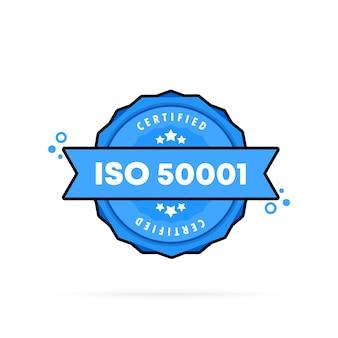 Selo iso 50001. vetor. ícone do emblema iso 50001. logotipo do crachá certificado. modelo de carimbo. etiqueta, etiqueta, ícones. vetor eps 10. isolado no fundo branco.