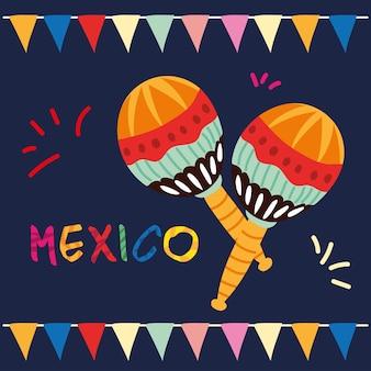 Selo mexicano com um par de maracas, design de instrumento musical