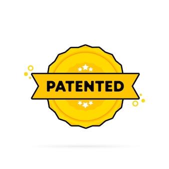 Selo patenteado. vetor. ícone de emblema patenteado. logotipo do crachá certificado. modelo de carimbo. etiqueta, etiqueta, ícones. vetor eps 10. isolado no fundo branco.