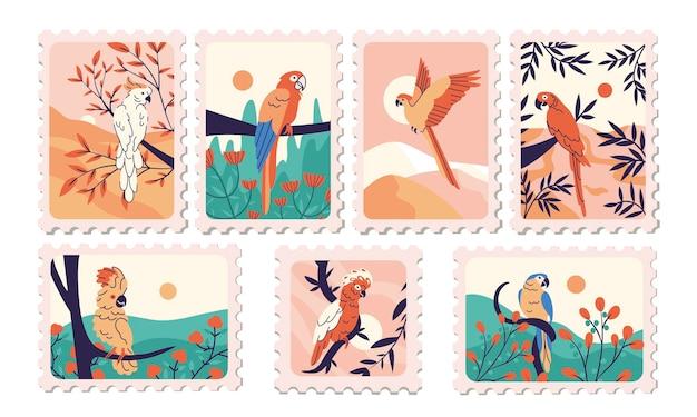 Selo postal com papagaios em design plano