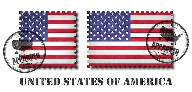 Selo postal de padrão de bandeira americana ou americana