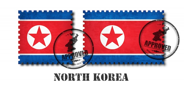 Selo postal de padrão de bandeira da coreia do norte