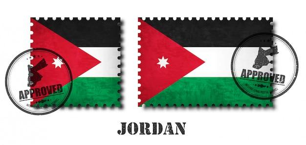 Selo postal do padrão da bandeira de jordão ou