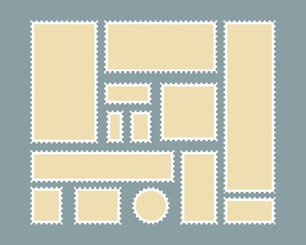 Selo postal em branco. fronteira dentada para envio de modelo de adesivo postal. vector eps10