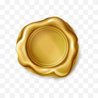 Selo realista de selo de cera dourada