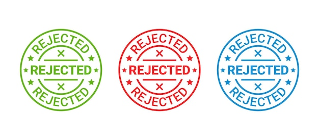 Selo rejeitado. etiqueta redonda vermelha negada. ilustração vetorial.