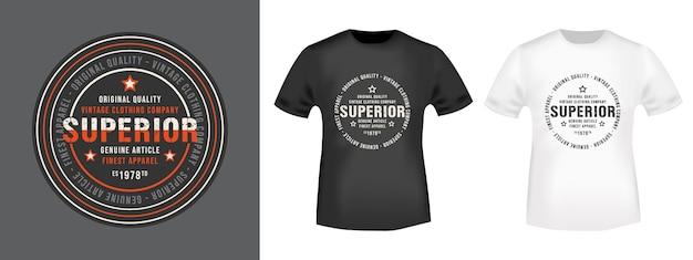 Selo superior e maquete de camiseta
