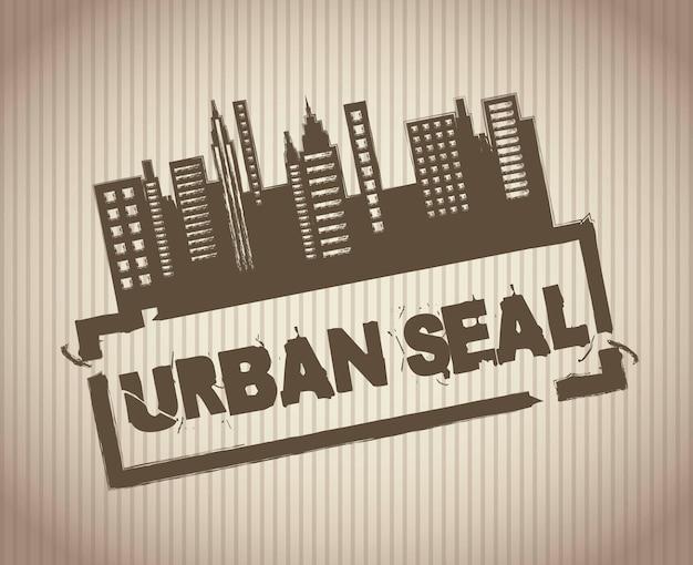 Selo urbano grunge sobre ilustração vetorial de fundo vintage