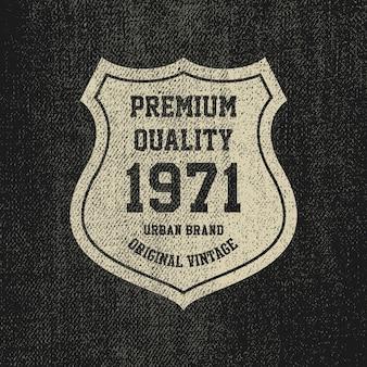 Selo vintage denim grunge, emblema de mercadorias.