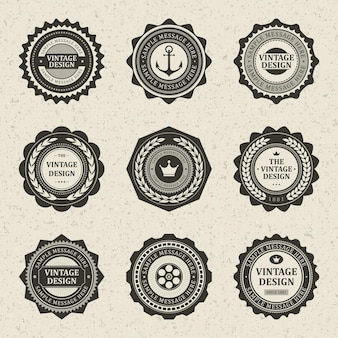 Selo vintage luxuoso. símbolo de âncora de rótulo antigo com borda de carro e decoração de negócios de coroa antiga.