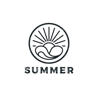 Selo vintage retrô moderno para design de logotipo de surf na praia