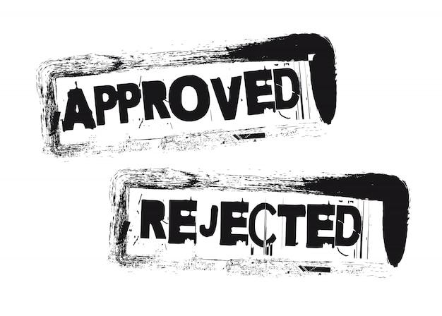 Selos aprovados e rejeitados