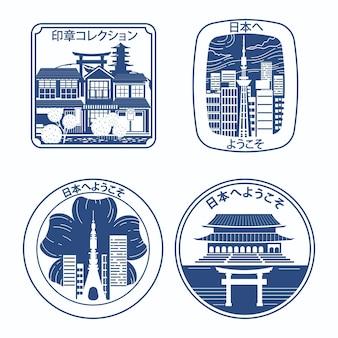 Selos azuis da cidade desenhados à mão