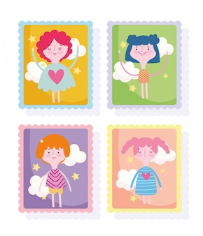 Selos bonitos, meninas de quadrinhos desenhos animados e ícones de nuvens de menino