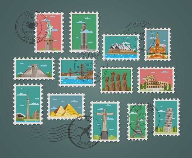 Selos com composições arquitetônicas famosas