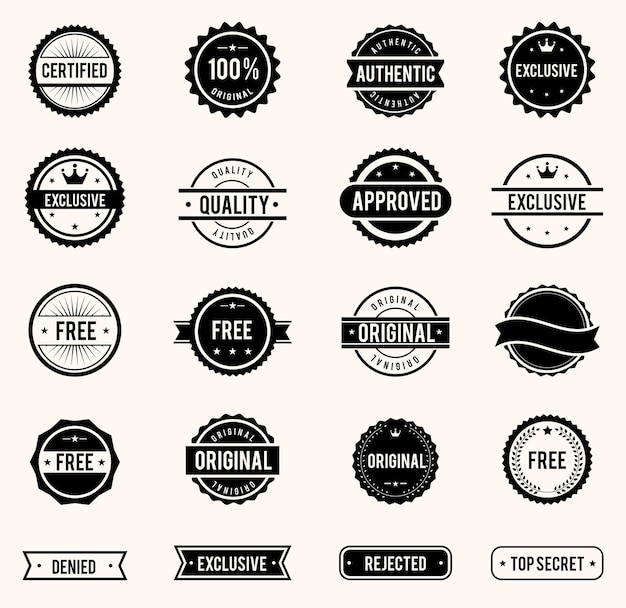 Selos comerciais de vetor definidos em estilo vintage para negócios e design