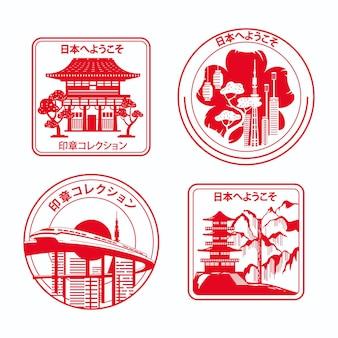 Selos da cidade vermelha desenhada à mão
