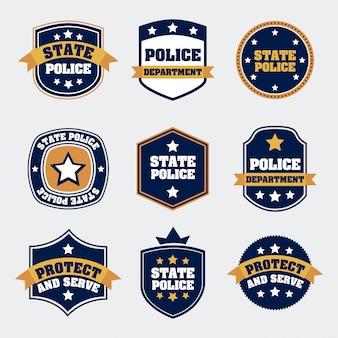 Selos da polícia sobre ilustração vetorial de fundo branco