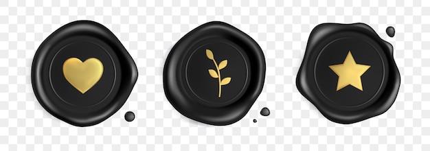 Selos de cera de carimbo preto cravejado de coração de ouro, filial e estrela isolada