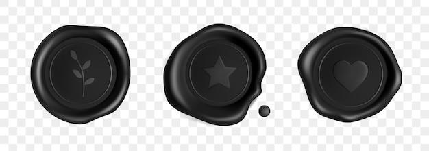 Selos de cera de carimbo preto cravejado de coração, ramo e estrela isolado