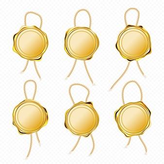 Selos de cera dourada com corda para carta, garantia ou certificado.