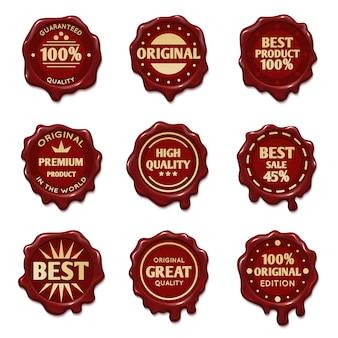 Selos de cera velha com estoque de vetor de texto de publicidade de melhor qualidade