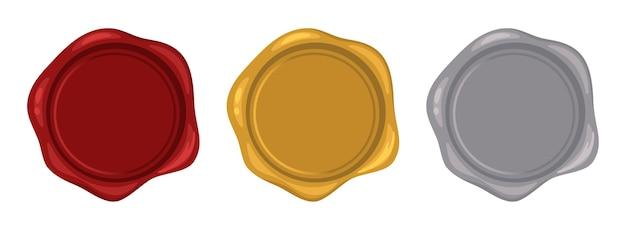 Selos de cera vermelho ouro prata. selo de vela decorativo conjunto de selos postais isolado no branco, ilustração vetorial