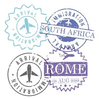 Selos de circulação de viagem de imigração e chegada