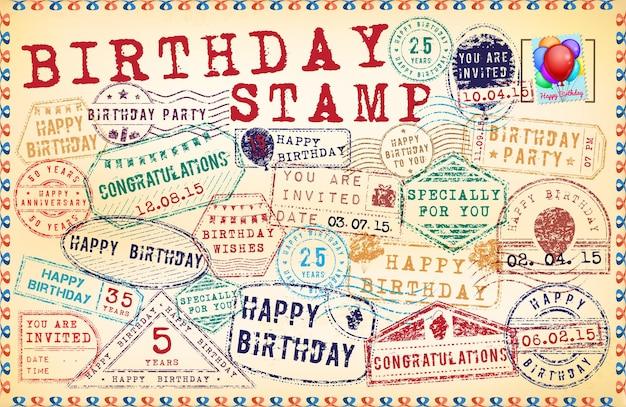 Selos de coleção para feliz aniversário