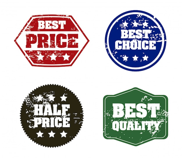 Selos de compras sobre ilustração vetorial de fundo branco