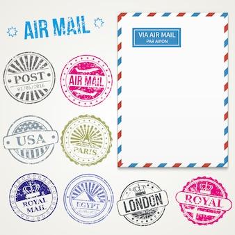 Selos de correio de ar e vetor de envelope