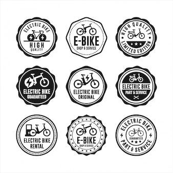 Selos de crachá coleção de bicicleta elétrica