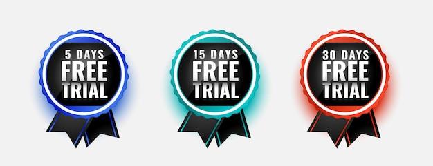Selos de crachá de teste gratuito por 5, 15 e 30 dias