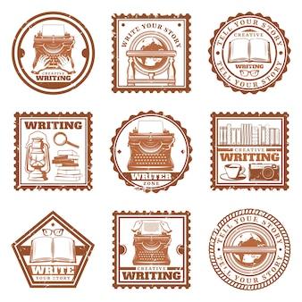 Selos de escrita vintage com digitação globo retrô telefone máquina de escrever livros lupa câmera de café óculos lâmpada a óleo isolada