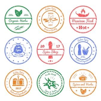 Selos de especiarias e ervas