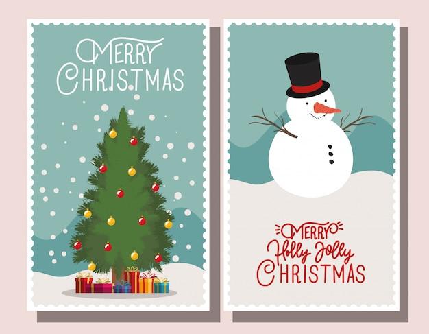 Selos de feliz natal da árvore de natal e boneco de neve
