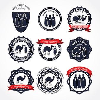 Selos de logotipo feliz epifania
